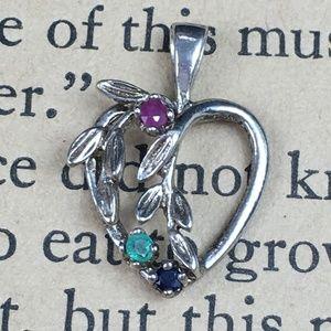 Sterling Silver Birthstone Gemstone Heart Pendant